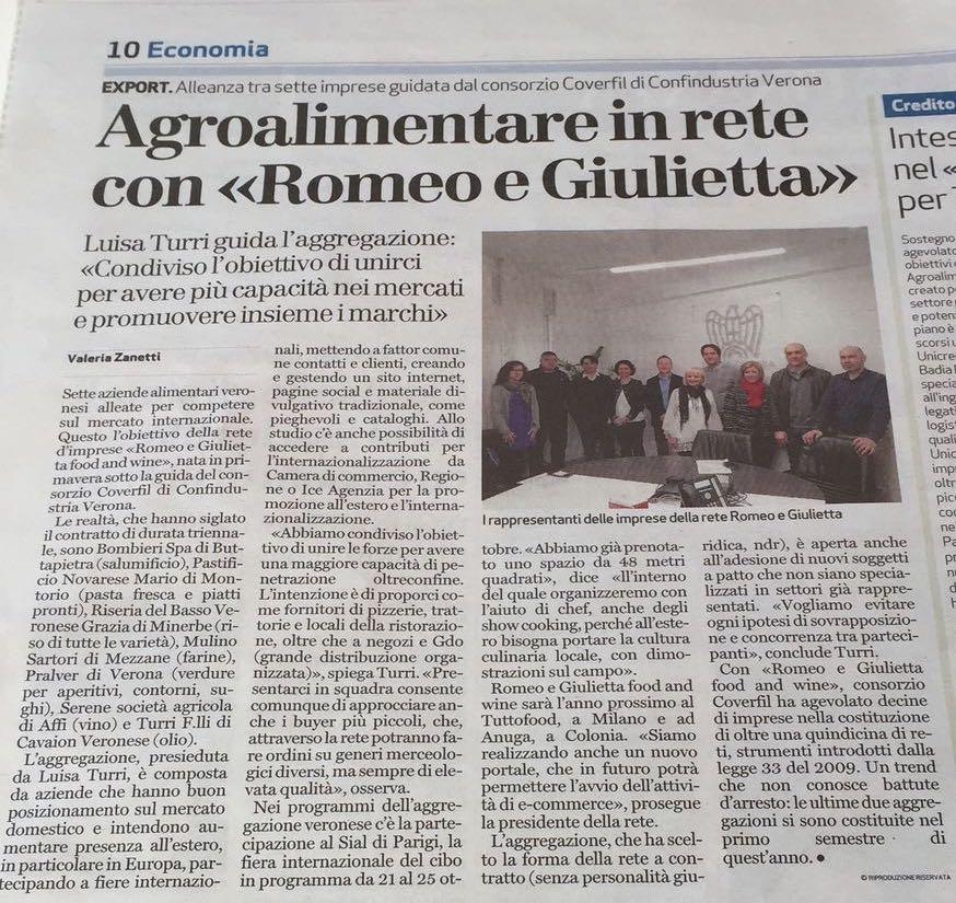 """Nasce la rete d'imprese """"Romeo e Giulietta Food and wine"""""""